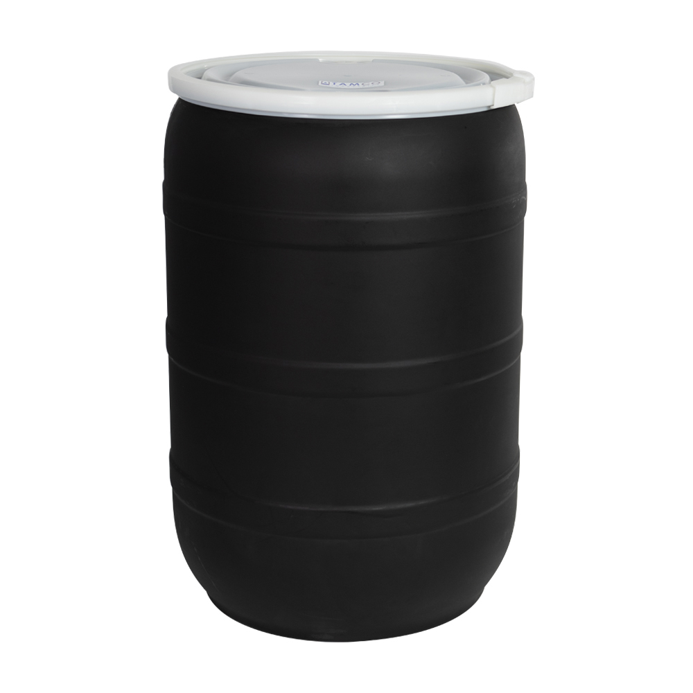 55 Gallon Black Open Head Drum with Threaded Bungs