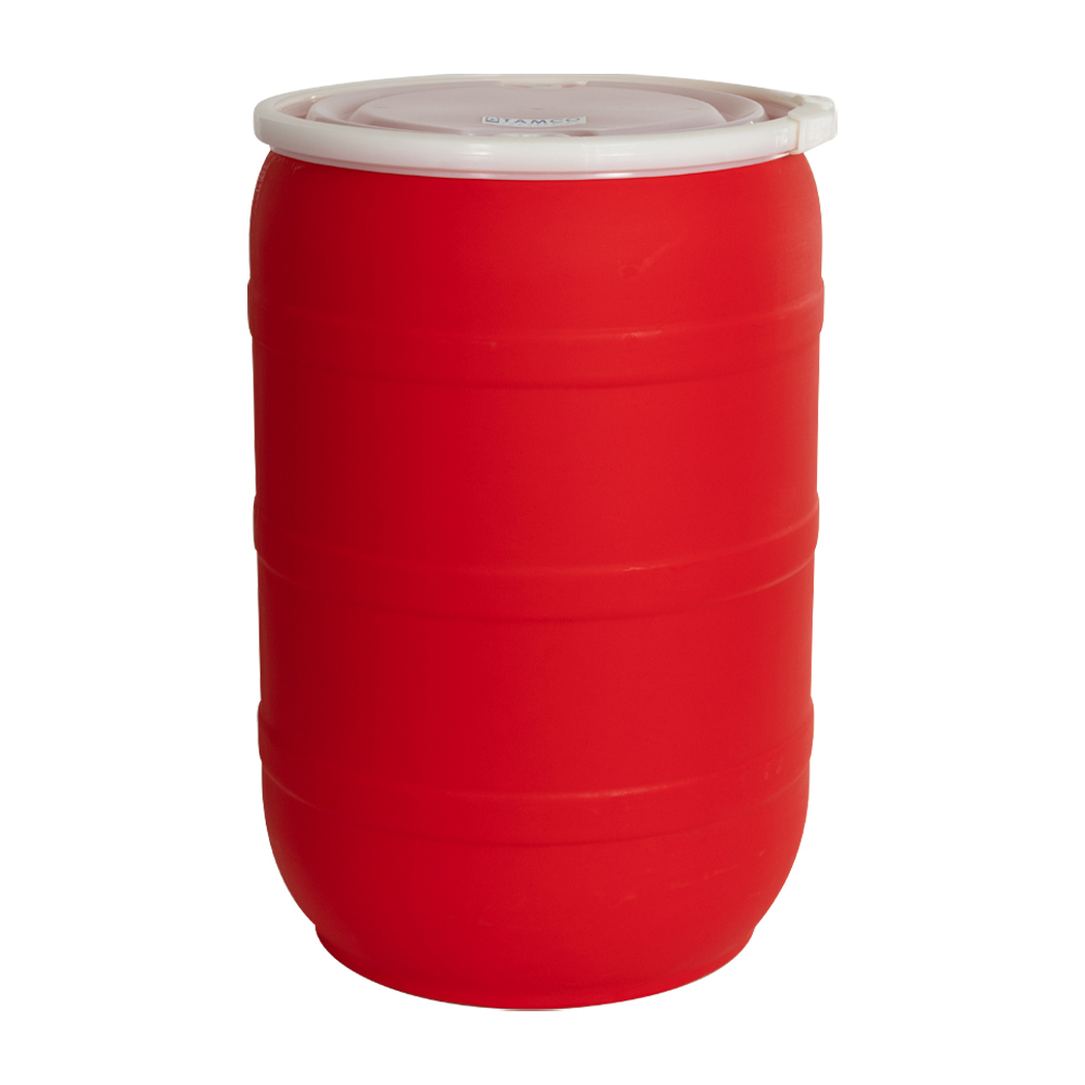 55 Gallon Red Open Head Drum with Threaded Bungs