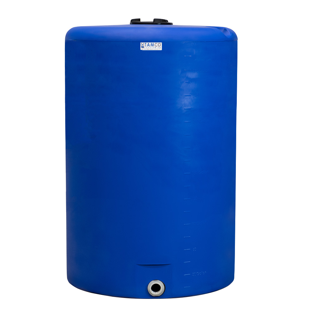 """300 Gallon Tamco® Vertical Blue PE Tank with 8"""" Lid & 2"""" Fitting - 40"""" Dia. X 61"""" High"""