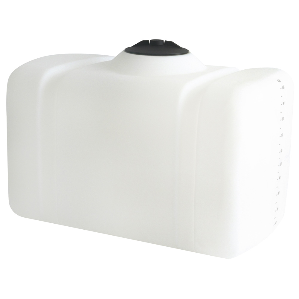 "100 Gallon White Flat Bottom Tank, 43"" x 27"" x 30"", 8"" Manway, 1"" Fitting"