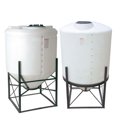 "4900 Gallon 15° Cone Bottom, Dome Top White Tank w/16"" Lid - 102"" Dia. x 159"" H"