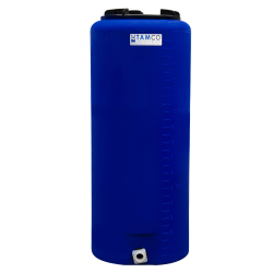 "15 Gallon Tamco® Vertical Blue PE Tank with 8"" Lid & 3/4"" Fitting - 13"" Dia. x 31"" High"