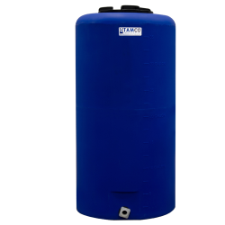"35 Gallon Tamco® Vertical Blue PE Tank with 8"" Lid & 3/4"" Fitting - 19"" Dia. x 37"" High"