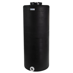 """105 Gallon Tamco® Vertical Black PE Tank with 12-1/2"""" Lid & 2"""" Fitting - 24"""" Dia. x 61"""" High"""
