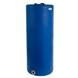 """105 Gallon Tamco® Vertical Blue PE Tank with 8"""" Lid & 2"""" Fitting - 24"""" Dia. x 60"""" High"""