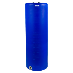 "135 Gallon Tamco® Vertical Blue PE Tank with 8"" Lid & 2"" Fitting - 24"" Dia. x 76"" High"