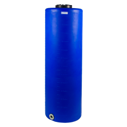 "135 Gallon Tamco® Vertical Blue PE Tank with 12-1/2"" Lid & 2"" Fitting - 24"" Dia. x 77"" High"