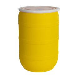 55 Gallon Yellow Open Head Drum with Threaded Bungs