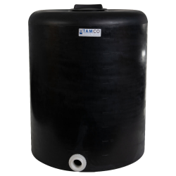 """100 Gallon Tamco® Vertical Black PE Tank with 8"""" Lid & 2"""" Fitting - 30"""" Dia. x 36"""" High"""