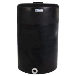 """130 Gallon Tamco® Vertical Black PE Tank with 8"""" Lid & 2"""" Fitting - 30"""" Dia. x 47"""" High"""