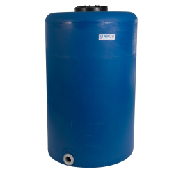 """130 Gallon Tamco® Vertical Blue PE Tank with 12-1/2"""" Lid & 2"""" Fitting - 30"""" Dia. x 49"""" High"""