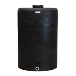 "300 Gallon Tamco® Vertical Black PE Tank with 12-1/2"" Lid & 2"" Fitting - 40"" Dia. x 63"" High"