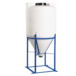 "100 Gallon Heavy Duty Cone Bottom Tank with 2"" FPT Bulkhead Fitting - 30"" Diameter x 56"" High"