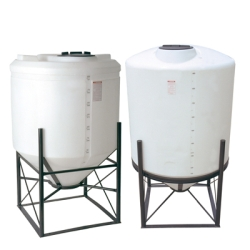 "300 Gallon 45° Cone Bottom, Dome Top White Tank w/16"" Lid 42""Dia. x 67""H"