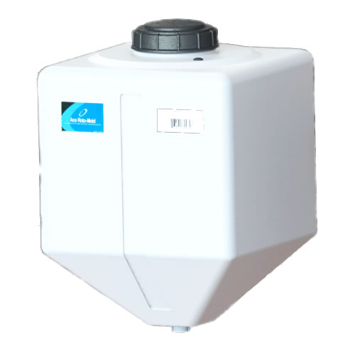 "15 Gallon White Square Rinse Tank w/5"" Lid & 1-1/4"" Spinweld Fitting - 16"" L x 16"" W x 23"" Hgt."