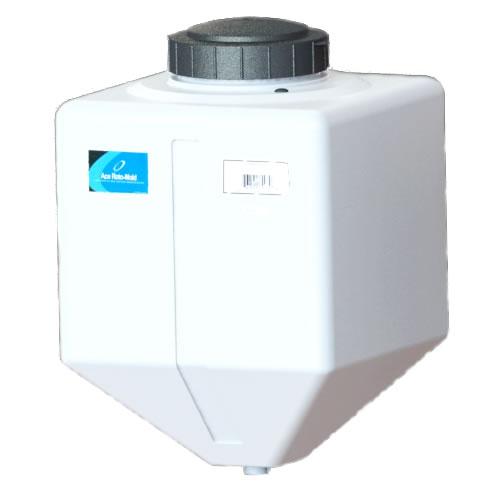 "15 Gallon White Square Rinse Tank w/7"" Lid & 1-1/4"" Spinweld Fitting - 16"" L x 16"" W x 24"" Hgt."
