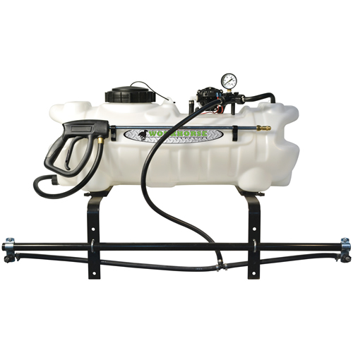 15 gallon atv sprayer with wand, boom with 2 nozzles & 2 2 gpm pump