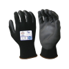 X-Small Black Nylon Gloves with Black Polyurethane Coated Palm