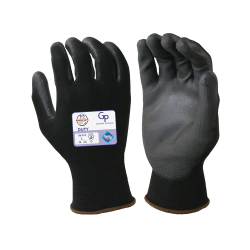 Large Black Nylon Gloves with Black Polyurethane Coated Palm