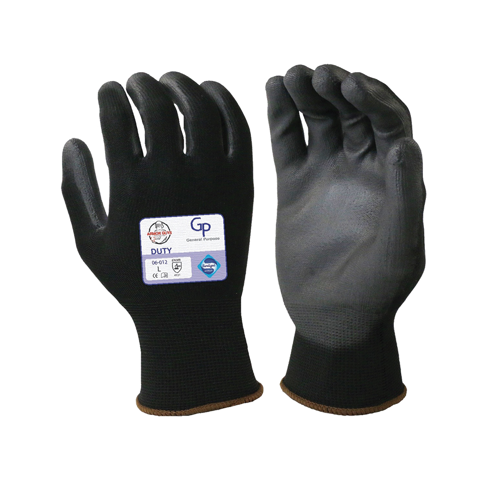 Medium Black Nylon Gloves with Black Polyurethane Coated Palm