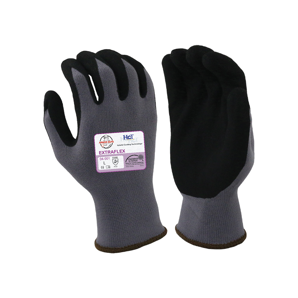 Large Black Nitrile Work Gloves