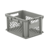 "16"" L x 12"" W x 8-1/2"" Hgt. Gray Container w/Mesh Sides & Solid Base"