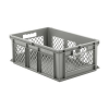 "24"" L x 16"" W x 8-1/2"" Hgt. Gray Container w/Mesh Sides & Solid Base"