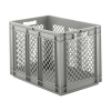 "24"" L x 16"" W x 16-1/2"" Hgt. Gray Container w/Mesh Sides & Solid Base"
