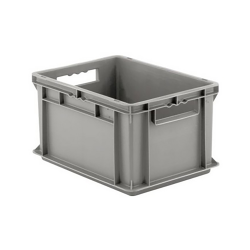 """16"""" L x 12"""" W x 8-1/2"""" Hgt. Gray Container w/Solid Sides & Base"""