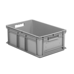 """24"""" L x 16"""" W x 8 1/2"""" Hgt. Gray Container w/Solid Sides & Base"""