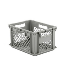 """16"""" L x 12"""" W x 8-1/2"""" Hgt. Gray Container w/Mesh Sides & Base"""