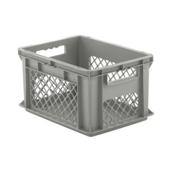"""16"""" L x 12"""" W x 8-1/2"""" Hgt. Gray Container w/Mesh Sides & Solid Base"""