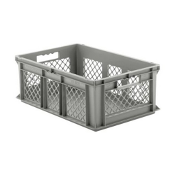 """24"""" L x 16"""" W x 8-1/2"""" Hgt. Gray Container w/Mesh Sides & Solid Base"""