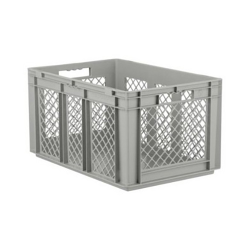 """24"""" L x 16"""" W x 12-1/2"""" Hgt. Gray Container w/Mesh Sides & Solid Base"""
