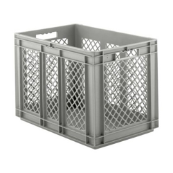 """24"""" L x 16"""" W x 16-1/2"""" Hgt. Gray Container w/Mesh Sides & Solid Base"""