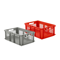 """16"""" L x 12"""" W x 8-1/2"""" Hgt. Red Container w/Mesh Sides & Solid Base"""