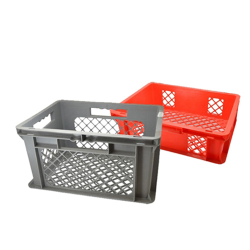 """16"""" L x 12"""" W x 8-1/2"""" Hgt. Red Container w/Mesh Sides & Base"""