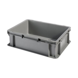 """16"""" L x 12"""" W x 4-1/2"""" Hgt. Gray Container w/Solid Sides & Base"""
