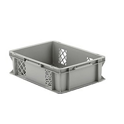 """16"""" L x 12"""" W x 4-1/2"""" Hgt. Gray Container w/Mesh Sides & Base"""
