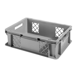 """16"""" L x 12"""" W x 4-1/2"""" Hgt. Gray Container w/Mesh Sides & Solid Base"""