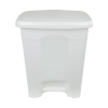 white step-on trash can