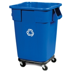 Rubbermaid® 40 Gallon Brute® Square Recycling Container & Dolly