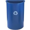 "21 Gallon Half Round Rubbermaid® Container w/Recycle Symbol - 21""L x 11""W x 28""H"