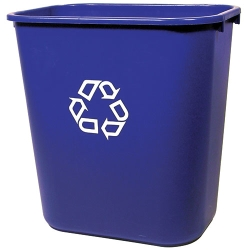 """28-1/8 Qt Rubbermaid® Container w/Recycle Symbol - 14-3/8""""L x 10-1/4""""W x 15""""H"""