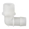 "1/16"" Tube ID x 10-32 UNF Thread Natural Polypropylene Elbow"