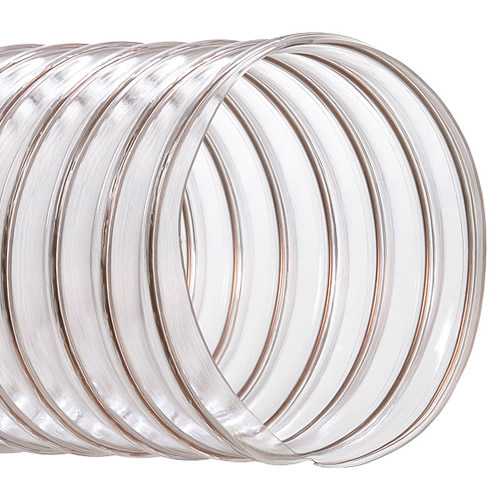 "7"" ID x .030"" Wall CVD Clear PVC Hose Reinforced with Wire"