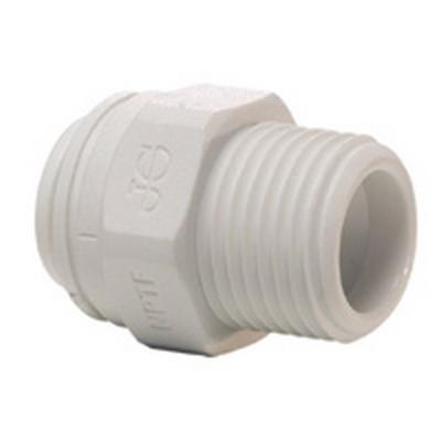 "1/2"" Tube OD x 1/2"" MNPTF White Polypropylene Connector"