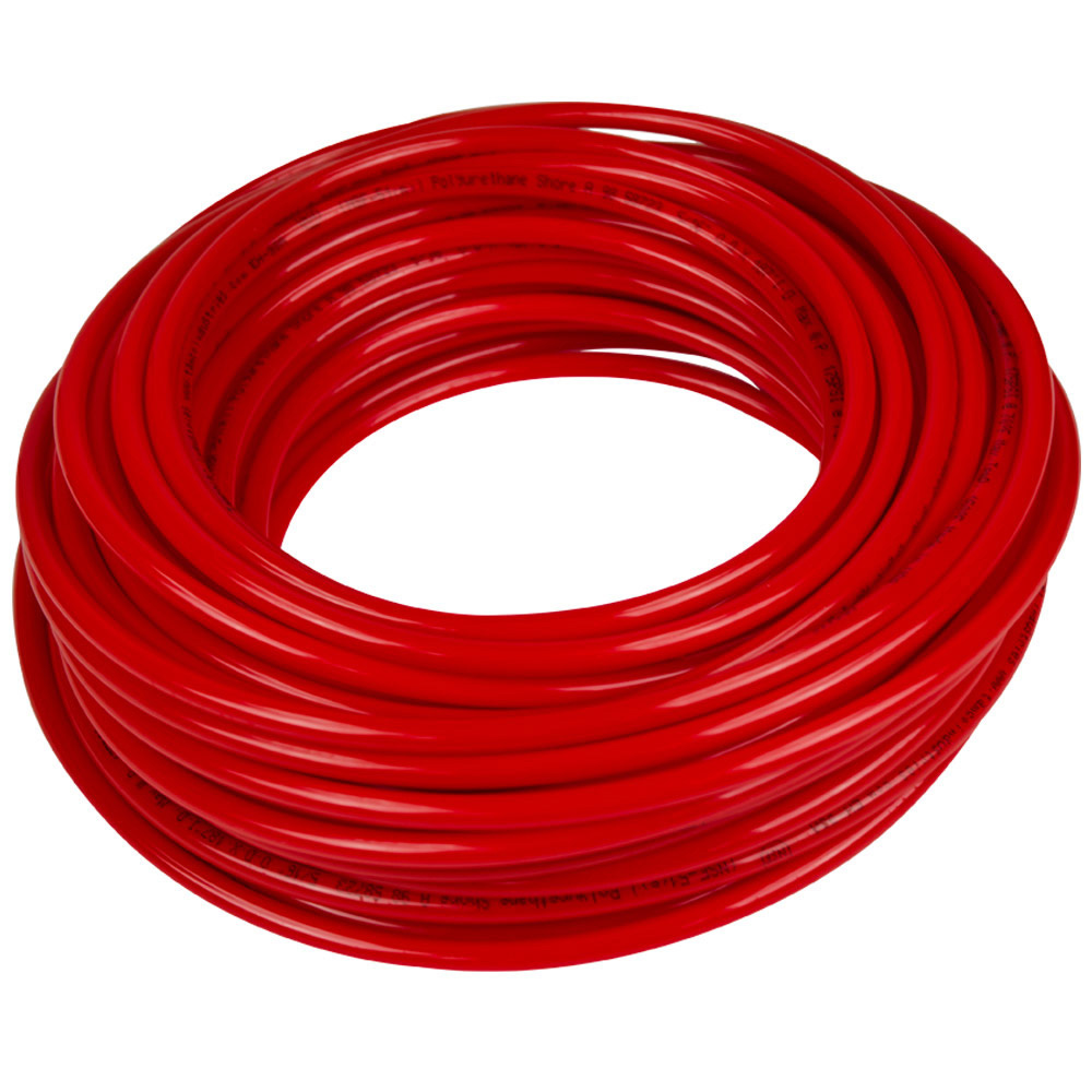 ".125"" ID x 1/4"" OD x .063"" Wall Red Tamco® EH-98A Polyurethane Tubing"