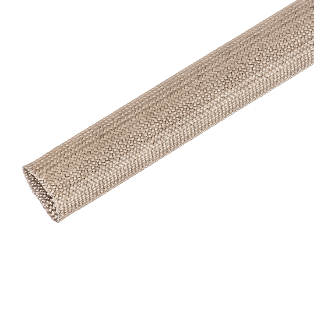 "#0 (.330"" Dia.) Natural Fiberglass Braided Sleeving"