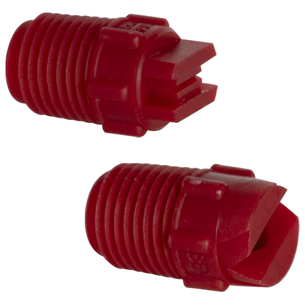 "50° Red PVDF Bex® F Series 1/4"" MNPT Spray Nozzle - Size 06"